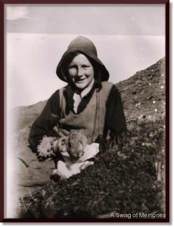 young Brian with rabbit